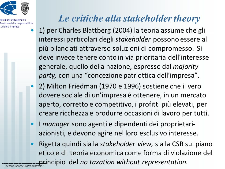 Le critiche alla stakeholder theory