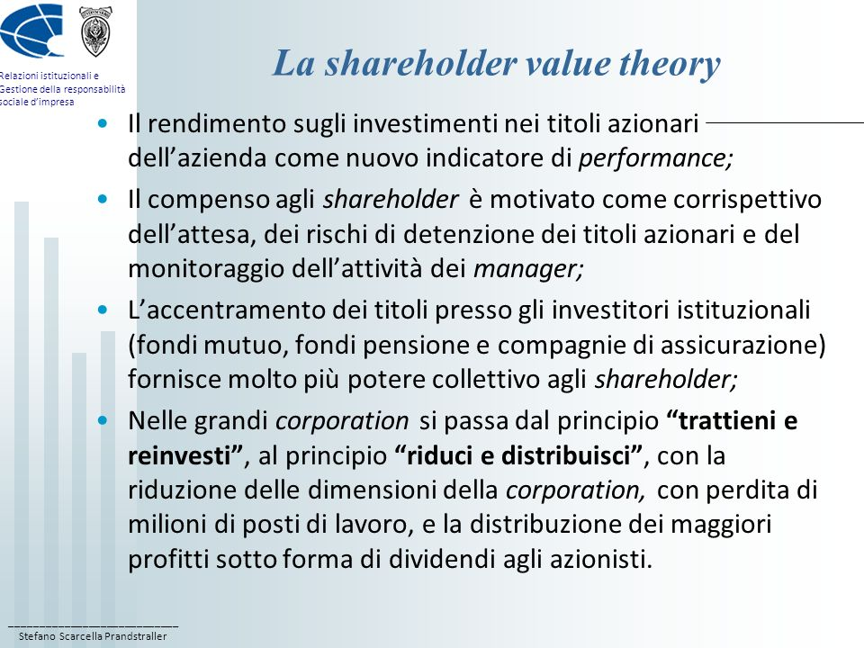 La shareholder value theory