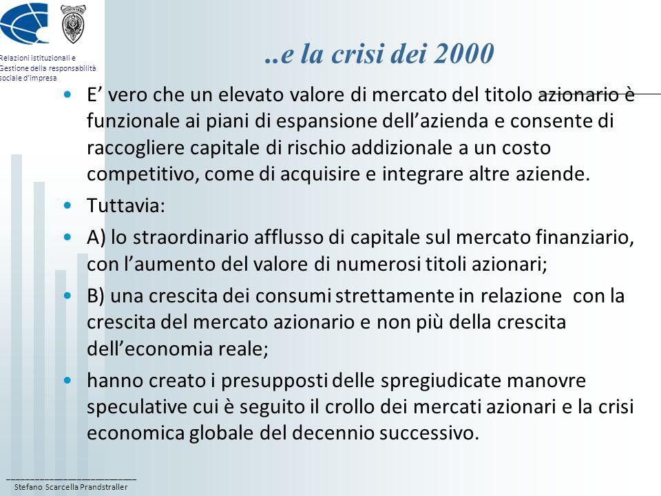 ..e la crisi dei 2000