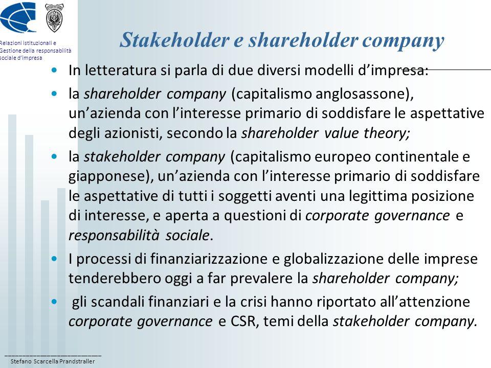 Stakeholder e shareholder company