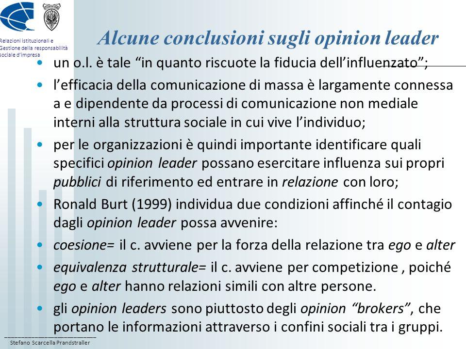 Alcune conclusioni sugli opinion leader