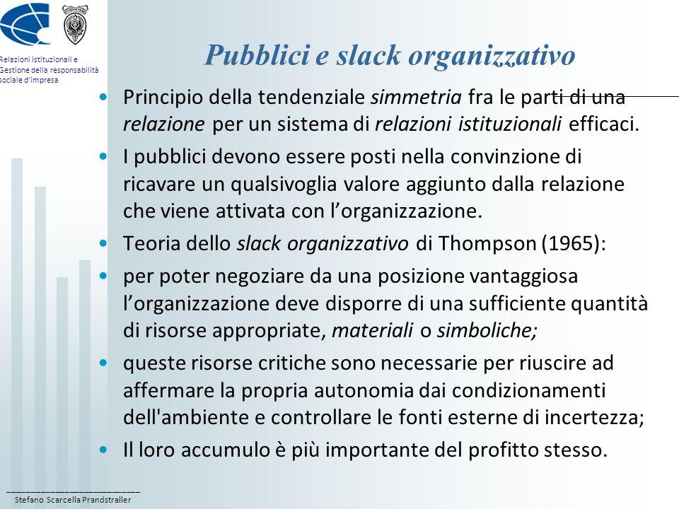 Pubblici e slack organizzativo