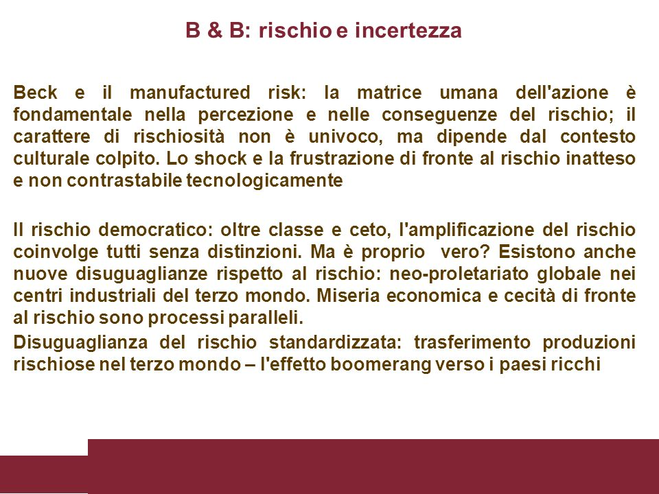 B & B: rischio e incertezza
