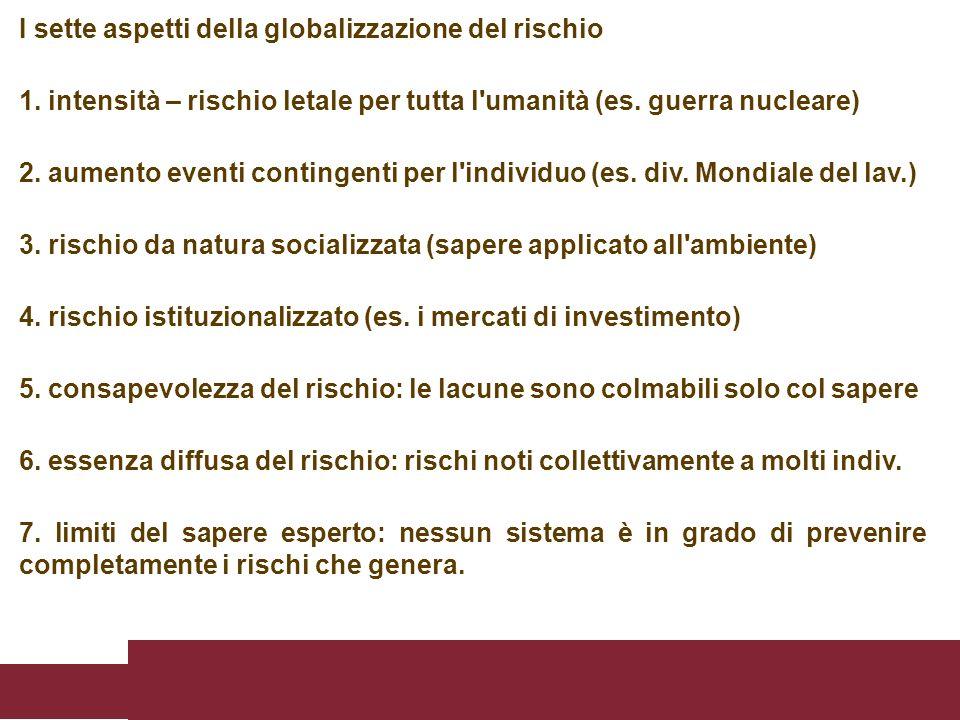 I sette aspetti della globalizzazione del rischio