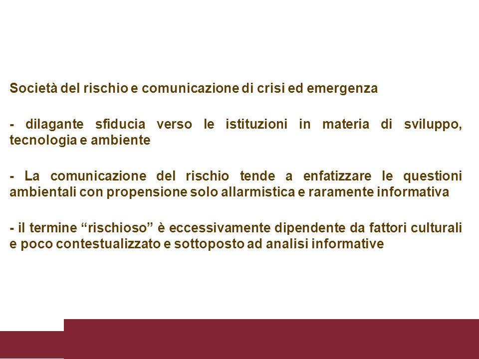 Società del rischio e comunicazione di crisi ed emergenza