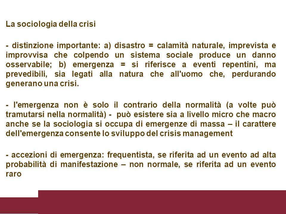La sociologia della crisi