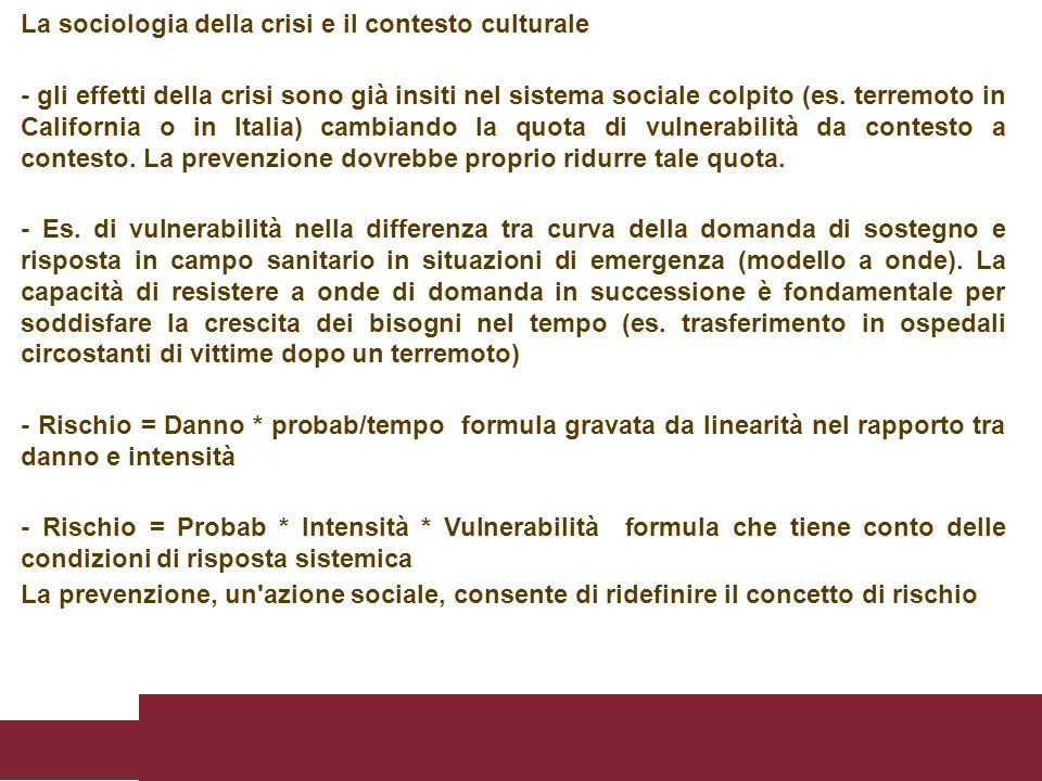 La sociologia della crisi e il contesto culturale