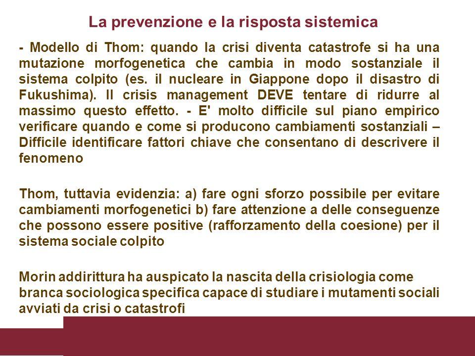 La prevenzione e la risposta sistemica