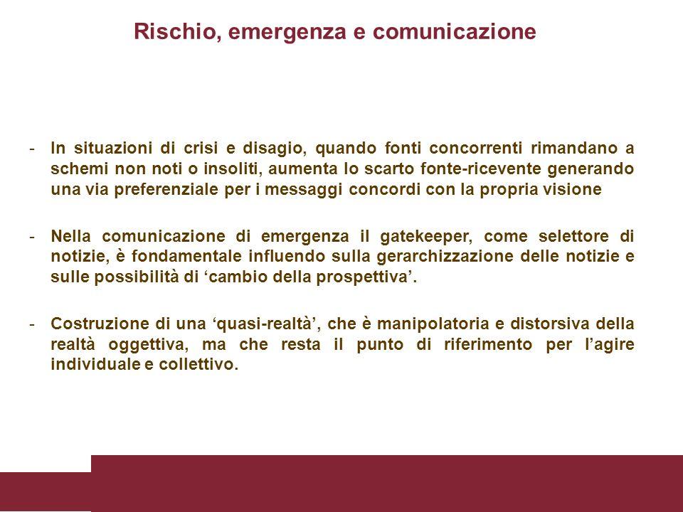 Rischio, emergenza e comunicazione