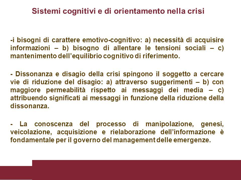 Sistemi cognitivi e di orientamento nella crisi