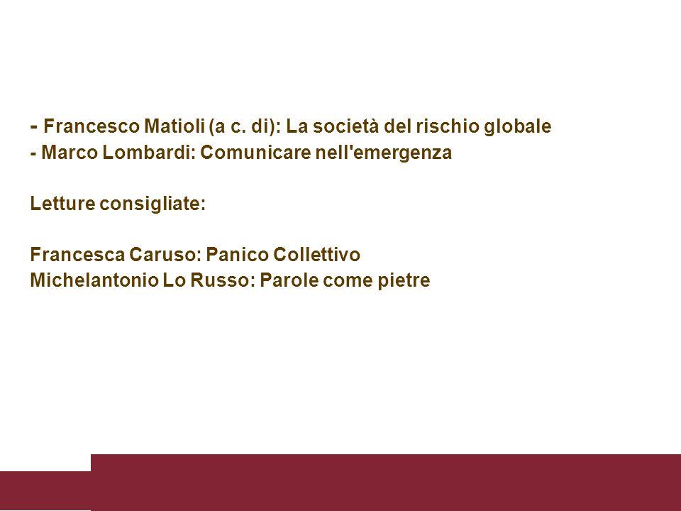 - Francesco Matioli (a c. di): La società del rischio globale