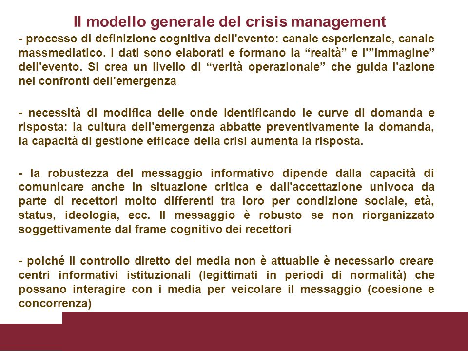 Il modello generale del crisis management