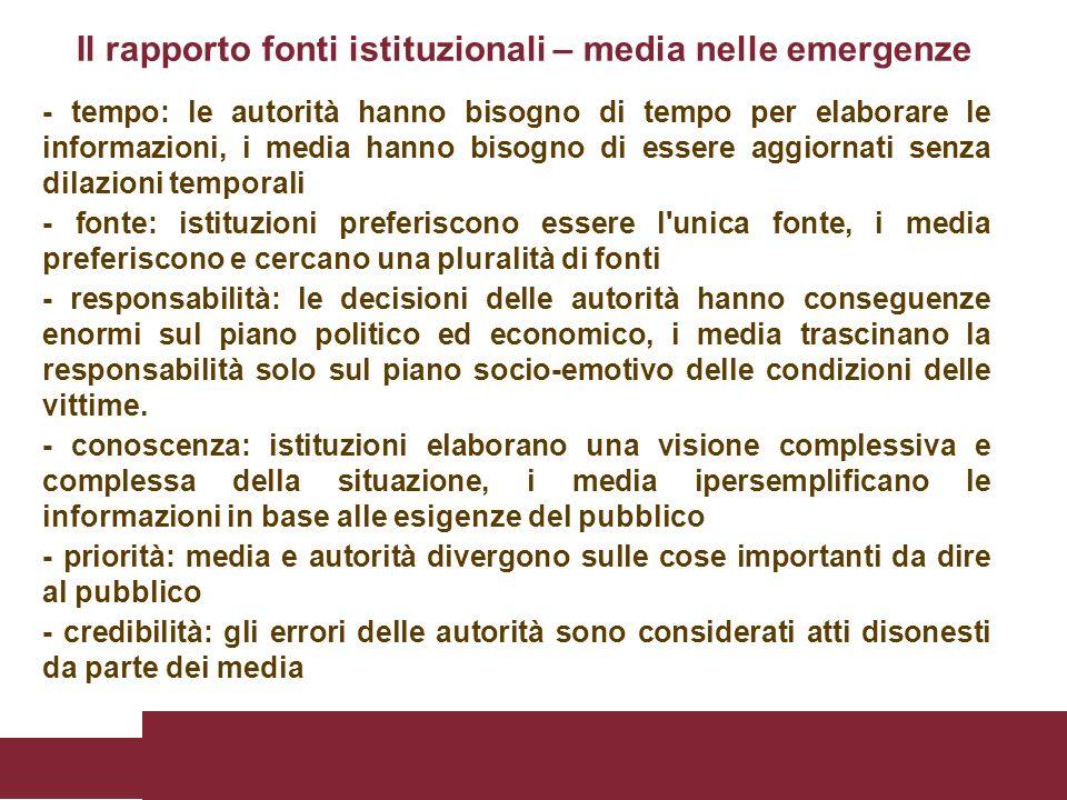 Il rapporto fonti istituzionali – media nelle emergenze