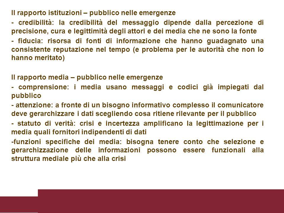 Il rapporto istituzioni – pubblico nelle emergenze