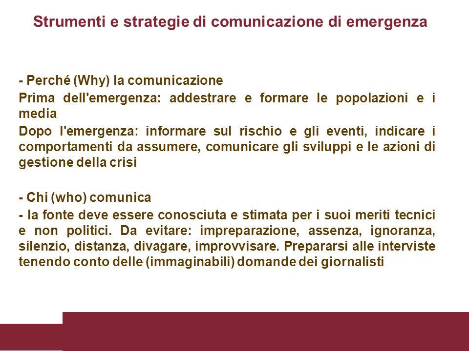 Strumenti e strategie di comunicazione di emergenza