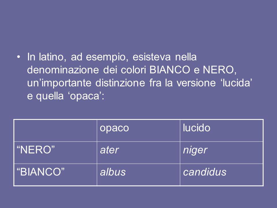 In latino, ad esempio, esisteva nella denominazione dei colori BIANCO e NERO, un'importante distinzione fra la versione 'lucida' e quella 'opaca':