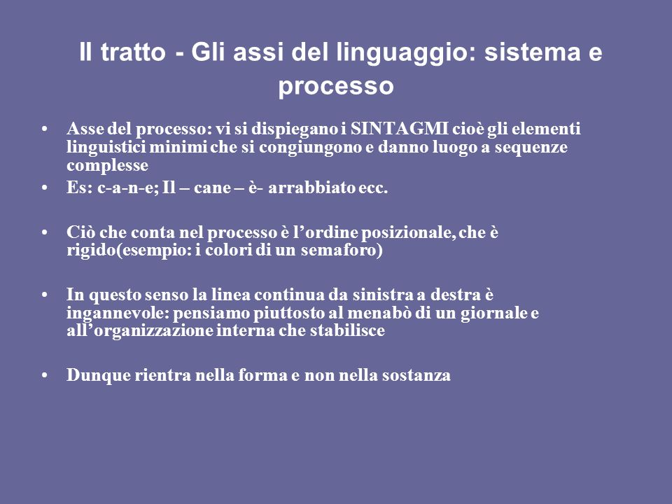 II tratto - Gli assi del linguaggio: sistema e processo