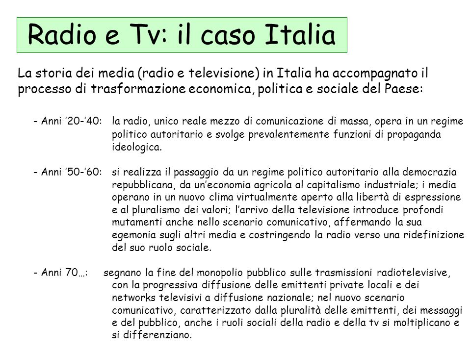 Radio e Tv: il caso Italia