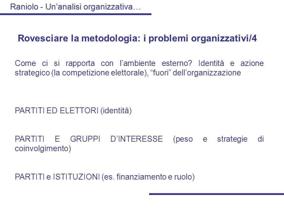 Rovesciare la metodologia: i problemi organizzativi/4