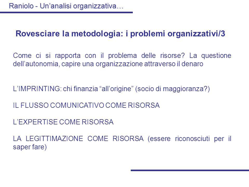Rovesciare la metodologia: i problemi organizzativi/3