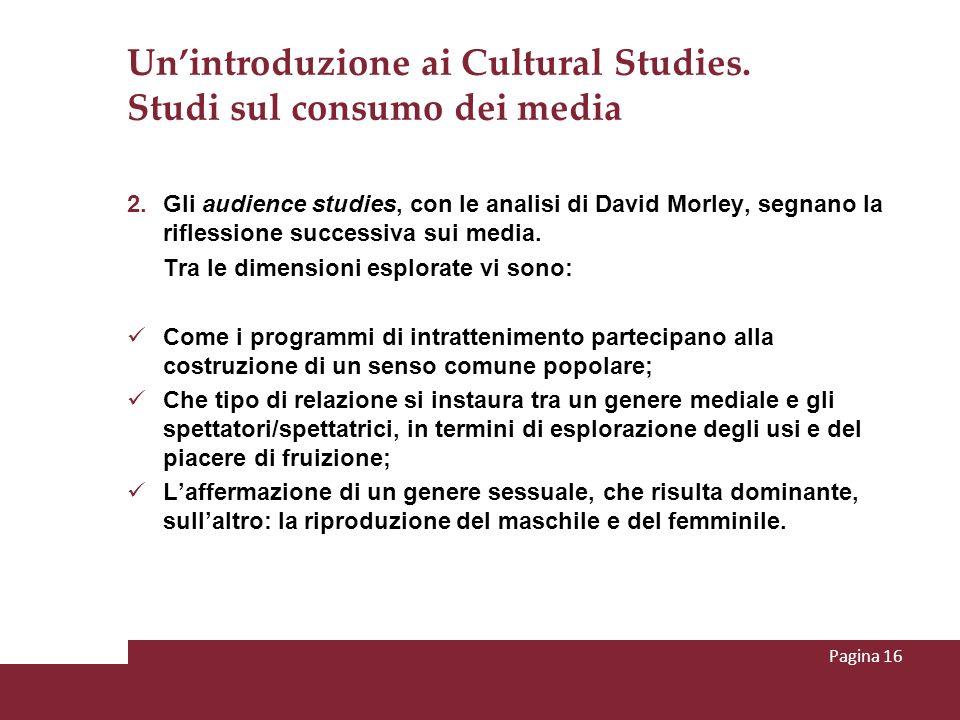 Un'introduzione ai Cultural Studies. Studi sul consumo dei media