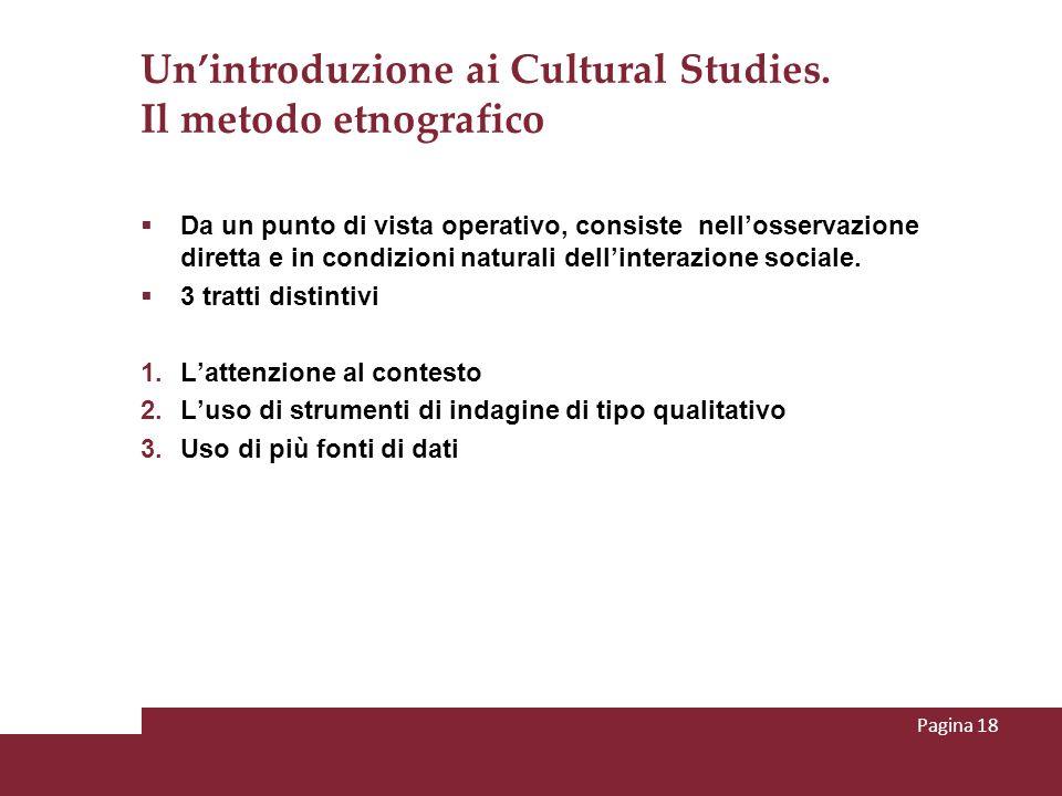 Un'introduzione ai Cultural Studies. Il metodo etnografico