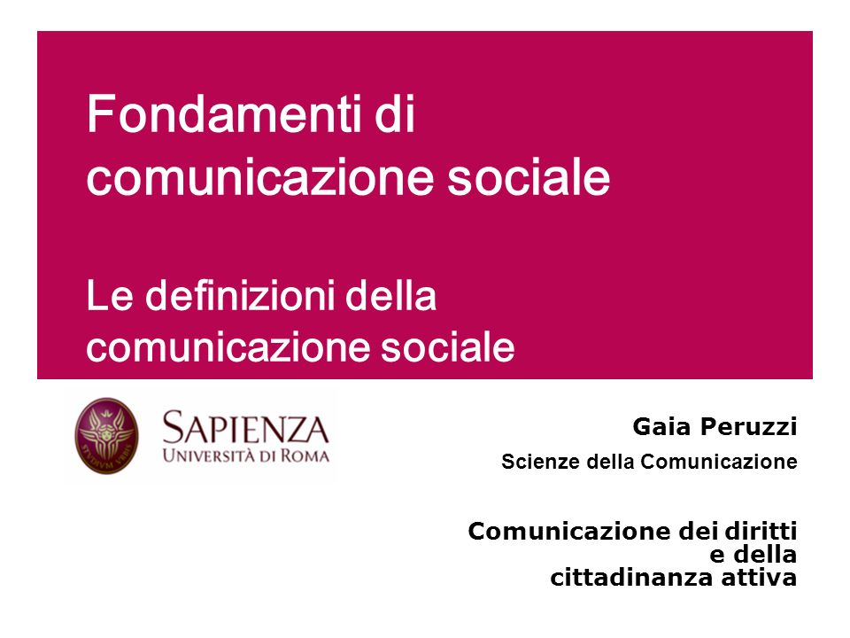 Fondamenti di comunicazione sociale