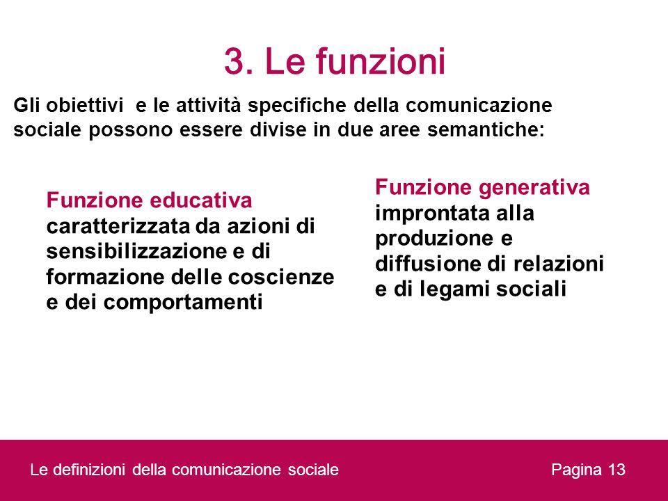 3. Le funzioni Gli obiettivi e le attività specifiche della comunicazione sociale possono essere divise in due aree semantiche: