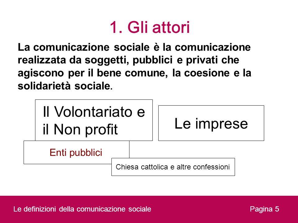 1. Gli attori Il Volontariato e il Non profit Le imprese