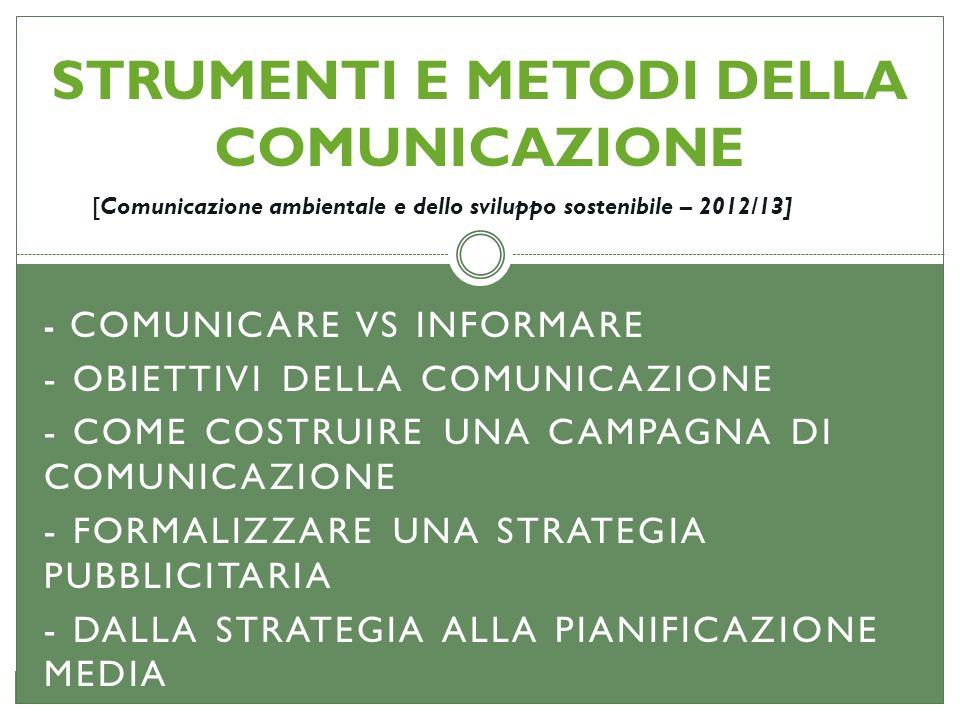 STRUMENTI E METODI DELLA COMUNICAZIONE