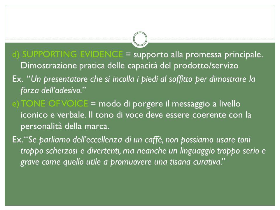 d) SUPPORTING EVIDENCE = supporto alla promessa principale