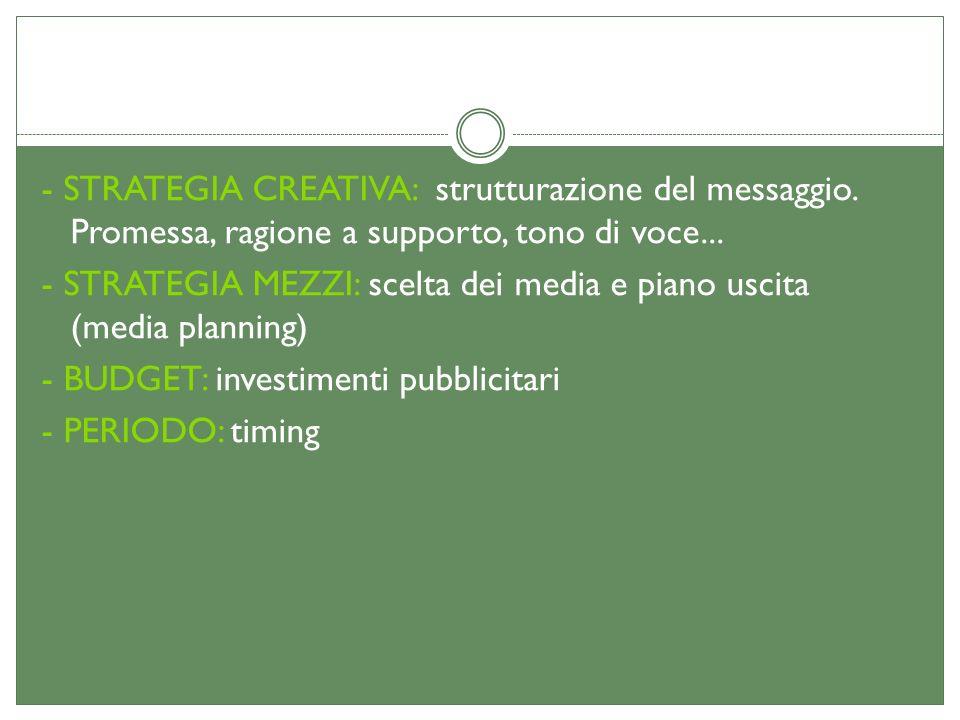 - STRATEGIA CREATIVA: strutturazione del messaggio