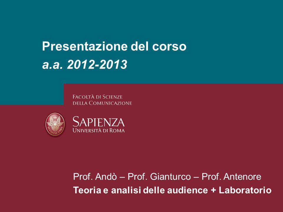 Presentazione del corso a.a. 2012-2013