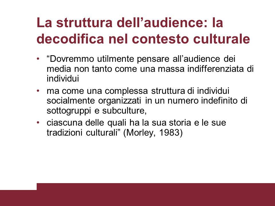 La struttura dell'audience: la decodifica nel contesto culturale