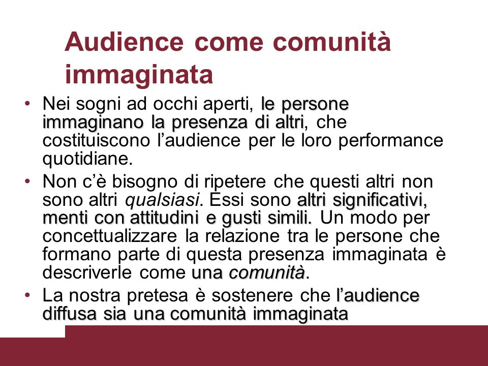 Audience come comunità immaginata