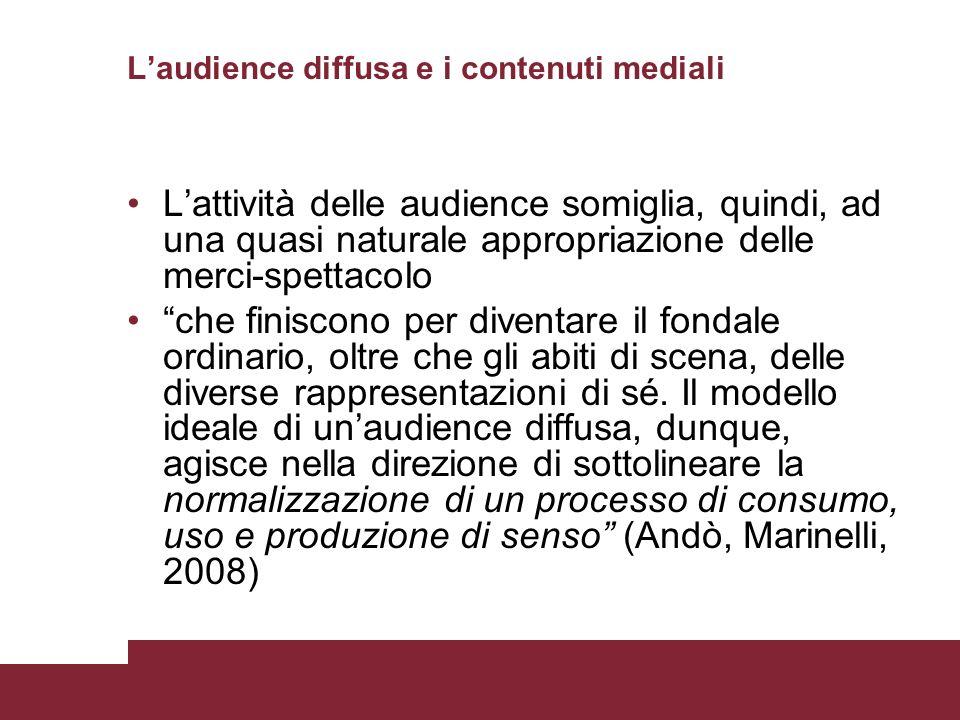 L'audience diffusa e i contenuti mediali