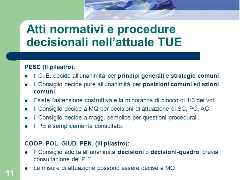 Atti normativi e procedure decisionali nell'attuale TUE