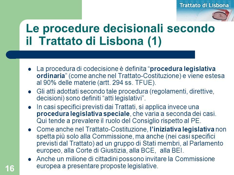 Le procedure decisionali secondo il Trattato di Lisbona (1)