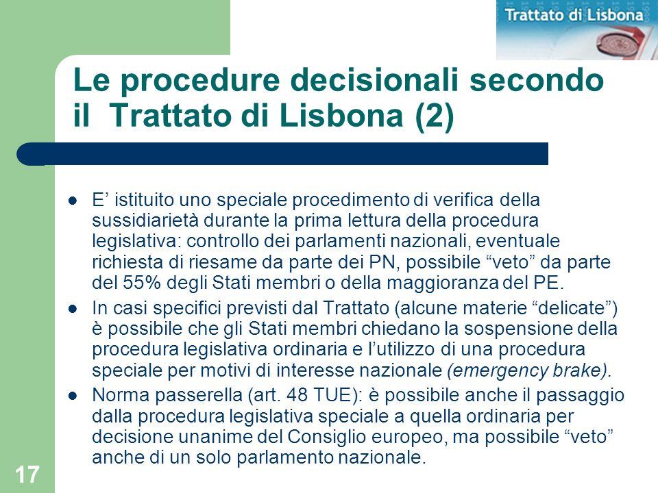 Le procedure decisionali secondo il Trattato di Lisbona (2)