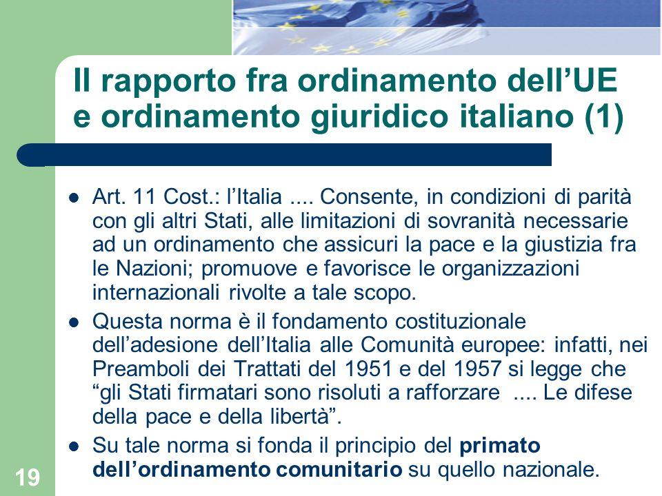 Il rapporto fra ordinamento dell'UE e ordinamento giuridico italiano (1)