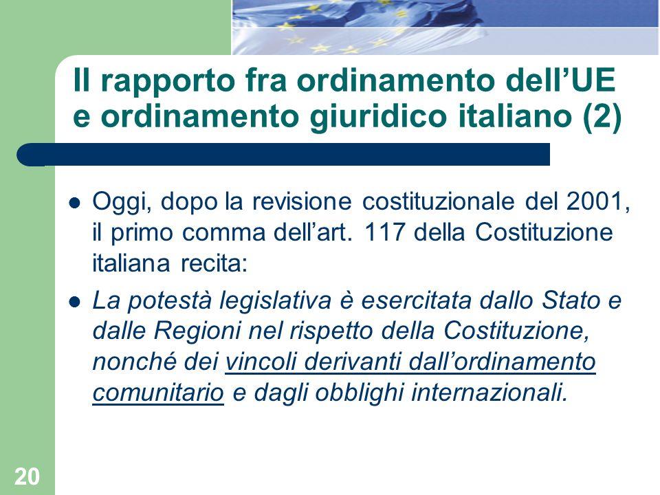 Il rapporto fra ordinamento dell'UE e ordinamento giuridico italiano (2)
