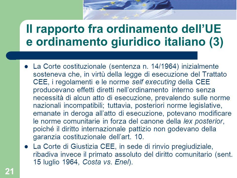 Il rapporto fra ordinamento dell'UE e ordinamento giuridico italiano (3)