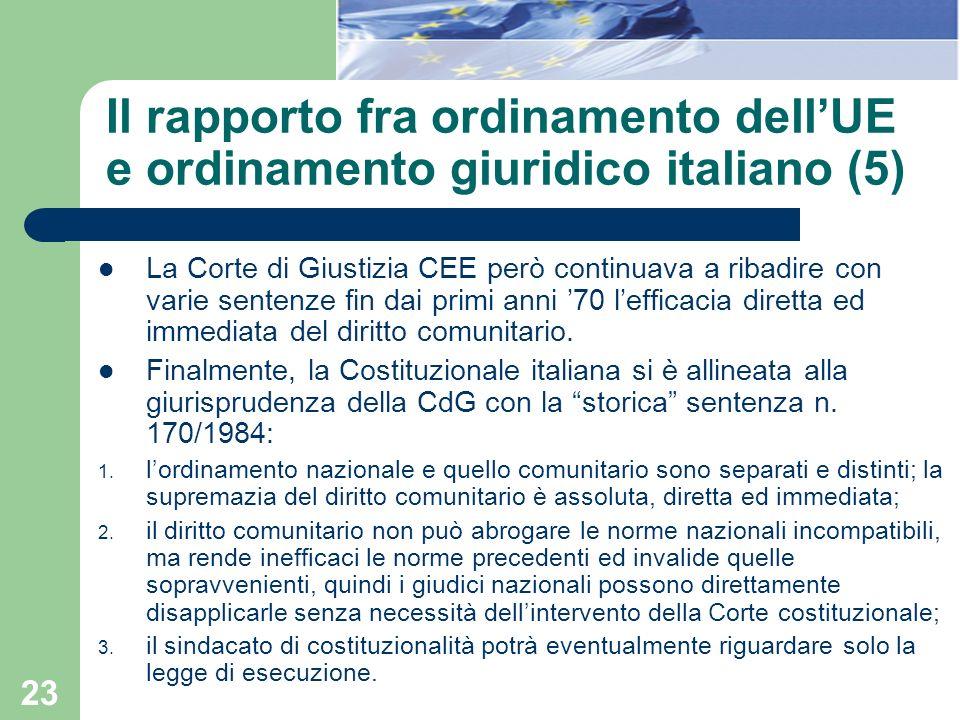 Il rapporto fra ordinamento dell'UE e ordinamento giuridico italiano (5)