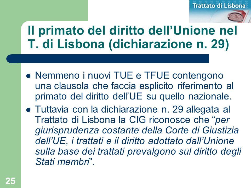 Il primato del diritto dell'Unione nel T. di Lisbona (dichiarazione n