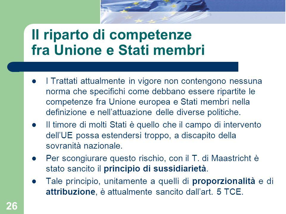 Il riparto di competenze fra Unione e Stati membri
