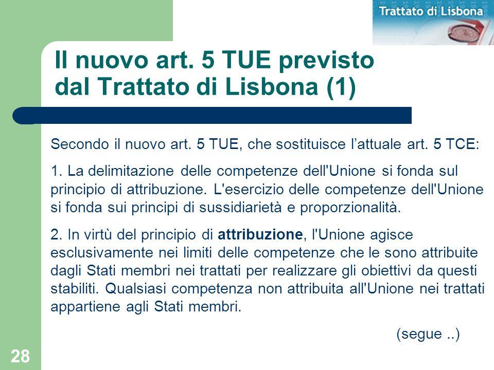 Il nuovo art. 5 TUE previsto dal Trattato di Lisbona (1)