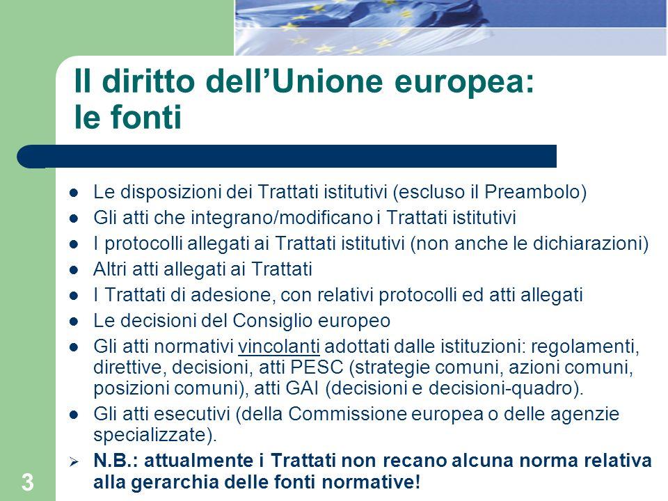 Il diritto dell'Unione europea: le fonti
