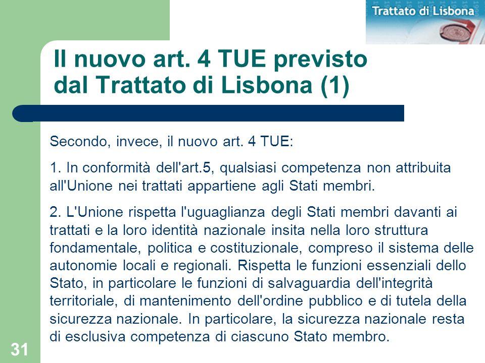 Il nuovo art. 4 TUE previsto dal Trattato di Lisbona (1)