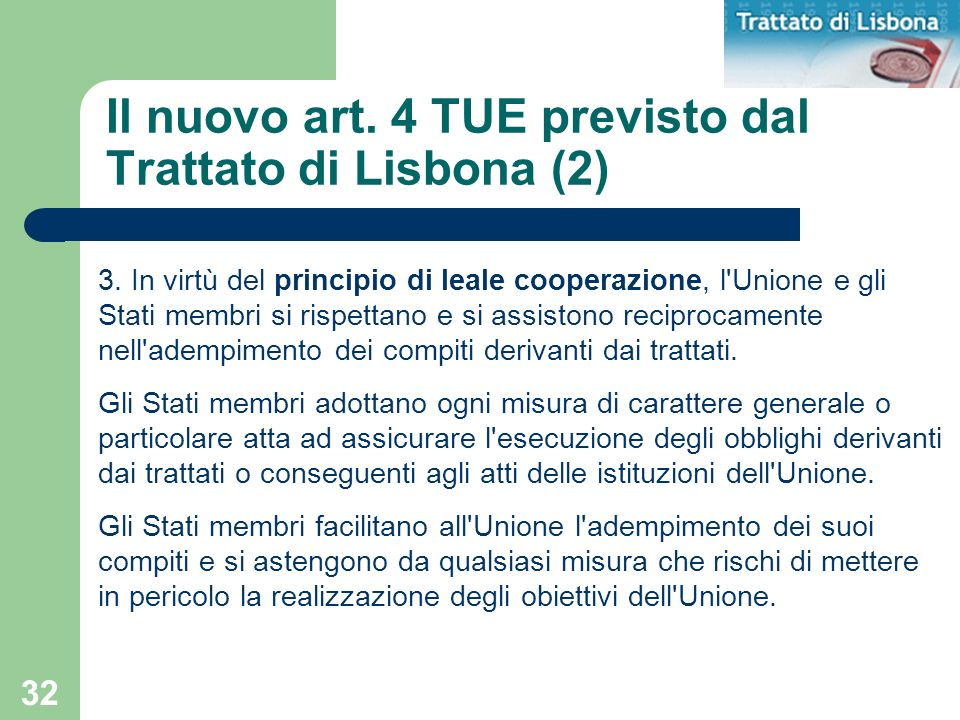 Il nuovo art. 4 TUE previsto dal Trattato di Lisbona (2)