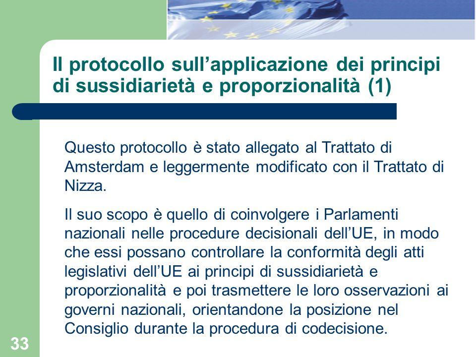 Il protocollo sull'applicazione dei principi di sussidiarietà e proporzionalità (1)